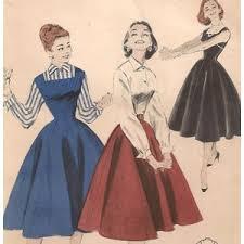 vintage 1950s jumper dress full skirt blouse sewing pattern