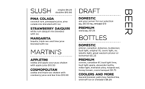 martini bar menu menu rawhides bistro u0026 saloon inc