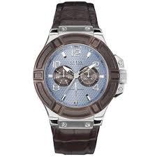 montre guess bracelet cuir images Montre guess homme 40 bracelet cuir marron boitier acier jpg