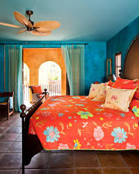 casual blue and orange bedroom design and decoration using large