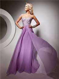 sweetheart floor length lilac chiffon prom dress with beading