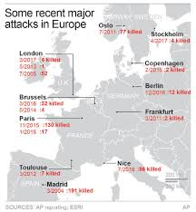 Europe On Map by Map Illustrates Recent Major Attacks Across Europe On May 1