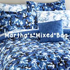 Camo Duvet Cover Boys Modern Blue Camo Camouflage Army Hunting Cabin Bedding