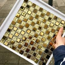 glass kitchen cabinet doors diy european royal style electroplated gold glass mosaic tile diy kitchen cabinet door frame wall tile decoration