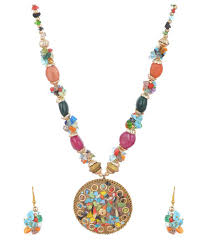 multi color stone necklace images Antique multicolor stone necklace set with earrings for women jpg