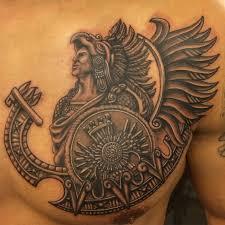 aztec warrior on chest draw aztec
