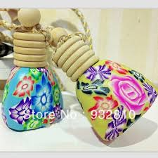 polymer clay home decor 10ml polymer clay perfume glass bottle hanging fragrance bottles