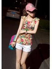 Shoulder Design - fashion letter printing floral shoulder design casual t shirt
