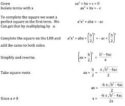 teaching the derivation of the quadratic formula