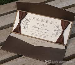 personalized wedding invitations brown pocket wedding invitations free personalized printing with