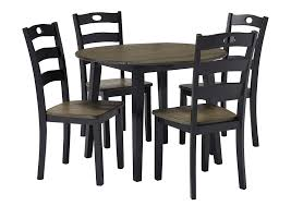 Ramos Furniture Froshburg Grayish Brown Black Round Drop Leaf Table