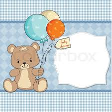 baby shower cards baby shower card with teddy stock vector colourbox