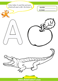 kids under 7 letter a worksheets and coloring pages preschool