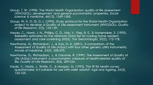 quality of life and aging conceptualization and measurement of a
