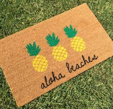 aloha beaches pineapple doormat hand painted customizable