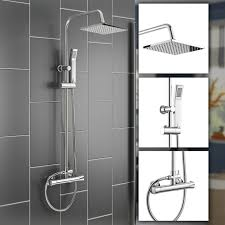 ibathuk square thermostatic bar mixer shower set chrome valve 8