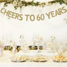 60 letters for 60th birthday 3m cheers to 60 years golden glitter letters garland bunting banner