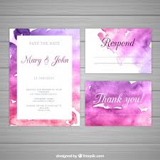 watercolor wedding invitation with abstract style vector free
