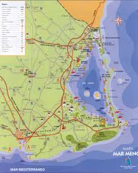 Detailed Map Of Spain by Detailed Map Of The Area Of Mar Menor Lo Pagan Mar Menor Spain