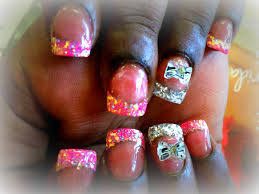 acrylic nails pink u0026 silver glitter tips 3d bow design youtube