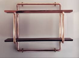 Pipe Shelves Kitchen by Small 2 Shelf 22mm Copper Pipe Unit With Reclaimed Hardwood