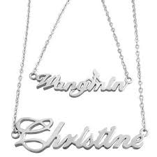 Customized Name Necklaces Customized Solid Sterling Silver Double Name Necklace Name Jewel