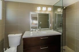 contemporary 3 4 bathroom with simple granite counters by d