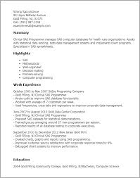 Programmer Resume Template Professional Clinical Sas Programmer Templates To Showcase Your
