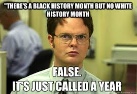 Black History Month Memes - there s a black history month but no white history month false