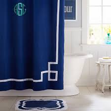 White Curtains With Blue Trim Decorating Ribbon Trim Shower Curtain Royal Navy Pbteen