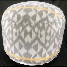 white and grey jumbo pouf ottoman infinitely simple