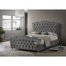 Velvet Bed Frame New Florence Plain Velvet Bed Frame 4ft6 Grey