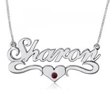Name Necklace Silver Birthstone Name Necklace Heart Swoosh Sterling Silver Namefactory