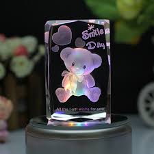 Engravable Music Box Colorful Crystal Music Box Home Decoration Luminous Rotating