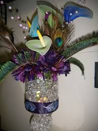 Peacock Centerpieces Peacock Centerpiece Completed Wedding Beads Blue Bouquet Brown
