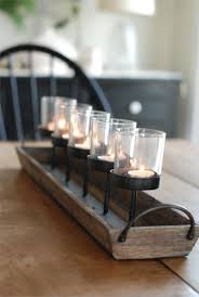 rustic wood centerpiece votive holder kitchen table or coffee