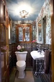 Guest Bathroom Design by Traditional Guest Bathroom Design With Damask Wall And Tile