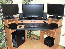 modren corner gaming computer desk video setup this perfect but
