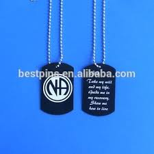 Personalized Dog Tags For Men Na Narcotics Anonymous Symbol Dog Tag Black Necklace Serenity