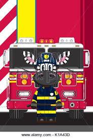 cute cartoon zebra fireman firefighter fire truck vector