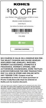 kohl s coupon extra 10 off 50 select women s home purchase