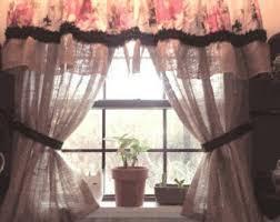 Black Lace Valance Custom Burlap Vintage Lace Valance Shabby Chic Rustic Window