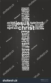 jesus christ christian cross word cloud stock vector 226136095