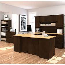 U Shaped Desks Merritt U Shape Desk With Hutch Bookcase And Lateral File
