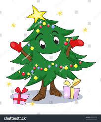 christmas tree character funny animated christmas stock vector