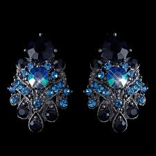navy blue earrings hematite navy blue ab mix clip on earrings 1334