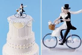 bicycle cake topper and groom on bicycle wedding cake topper the wedding