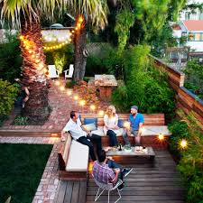 decorate with outdoor string lights sunset
