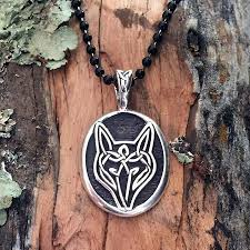silver wolf pendant necklace images Celtic knot works sterling silver celtic wolf pendant jpg