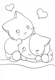 kawaii kittens cute coloring girls japanese